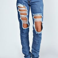 Lisa Extreme Ripped Mid Blue Distressed Jeans
