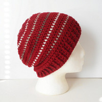 Striped Slouchy Beanie Hat in Brick with Mushroom, Taupe and Wheat Pinstripes, ready to ship.