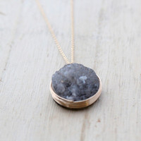 Turbinado Necklace - Druzy Bezel
