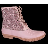 Boots Lace Up Glitter Pink - F20 - Simply Southern