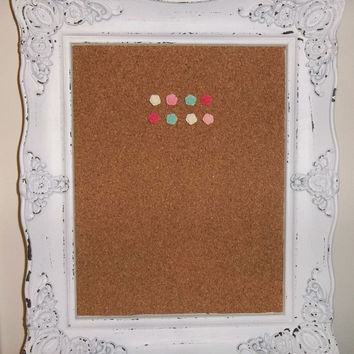 Shabby Chic Ornate Framed Cork Board w/ Rose Push Pins