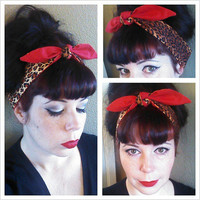 Leopard and Red double sided Headwrap Bandana Hair Bow Tie 1940s 1950s Style