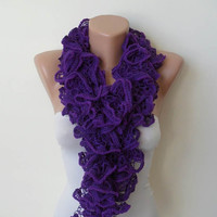New - Ruffle Crochet Knit Necklace Scarf - Purple - Soft - Cowl - Scarf by Umbrella Design