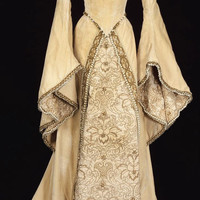 Medieval Luxury Bridal Gown with bead work and pearls