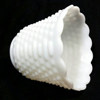 Vintage Fire King Ware Hobnail Milk Glass Planter/Shabby Chic Home Decor/Cottage Beach Serving Bowl/Wedding Bridal Shower Decor