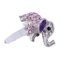 Lovely Pink Crystal Elephant Anti Dust Plug Stopper for Iphone 4 4s Ipad HTC
