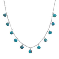 """16"""" Necklace with 11 Faceted Turquoise Drops"""