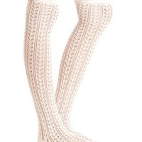 Scrunched Pointelle Over-the-Knee Socks by Charlotte Russe - Ivory