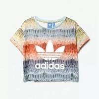 Adidas feather print short crop top T-shirt tee blouse