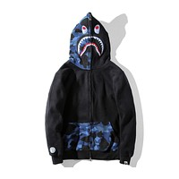 BAPE autumn new mouth teeth personality men and women couples hooded casual sweater F-A-KSFZ black