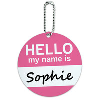 Sophie Hello My Name Is Round ID Card Luggage Tag
