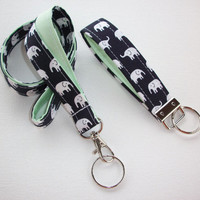 Elephant Lanyard and Key fob Keychain Set - dark blue black aqua dots, coral, mint - teacher gift, coworker gift, gift for her, under 20
