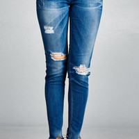 Distress Call Dark Wash Destroyed Skinny Jeans