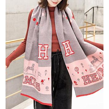 Hermes Autumn And Winter Fashion New Letter Print Keep Warm Scarf Women
