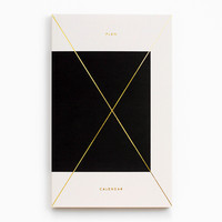 Gold Foil Any-Year Daily Planner - Colorblock Black