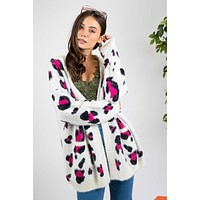 New Fall Women's Long Sleeve Animal Print Cardigan  Ivory & Fuchsia