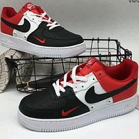 NIKE AIR Air Force 1 Leather Fashion Casual Shoes F-A36H-MY Black/White/Red