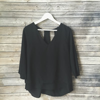 Valencia Black Vneck Layered Top (Black)