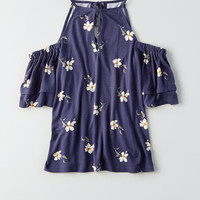 AEO Soft & Sexy Keyhole Cold Shoulder Top, Navy