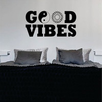 Good Vibes Yin Yang Flower Quote Decal Sticker Wall Vinyl