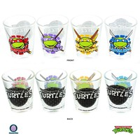 "4-PACK Official 1.5oz GIFT SET Teenage Mutant Ninja Turtles ""Turtle Power"" PREMIUM Green Novelty Shot Glass GIFT SET with Donatello, Leonardo, Michelangelo and Raphael"