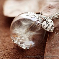 Nature Inspired Jewelry Real Dandelion Necklace Pendant Gift (HM0095-SLIVER)