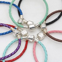 16-31cm 925 Sterling Silver Bead Charm Chain Fit Original Moments Woven Genuine Leather Pandora Bracelet Women DIY Jewelry Gift
