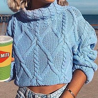 Women Solid Color Turtleneck Pullovers Female Fashion Loose Short Jumpers Sweaters Ladies Knitted Tops
