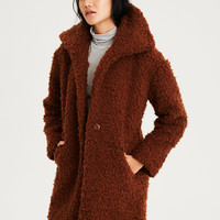 AE Faux Sherpa Cocoon Coat, Rust