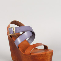 Bamboo Two Tone Strappy Open Toe Platform Wedge