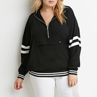Varsity-Striped Hooded Pullover