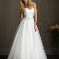 Diamond White & Silver English Net & Ruched Satin Strapless Sweetheart Embellished Waist Wedding Gown - Unique Vintage - Cocktail, Pinup, Holiday & Prom Dresses.