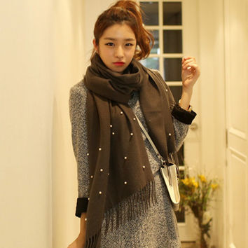 Winter Fashion Cashmere Tassels with Pearls Solid Scarf [9572881679]