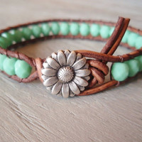 """Boho leather wrap bracelet, """"Country Girl"""", Shabby chic, turquoise, silver daisy flower, featured in ETSY FASHION Ultimate Jewelry Guide"""