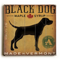 Personalized Black Dog at Show by Artist Ryan Fowler Planked Wood Sign Wall Decor Art