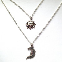 Layered Sun and Moon Necklace
