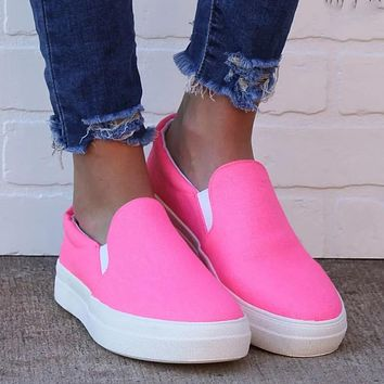 Casual single shoes round hand-painted color round toe flat-bottomed loafers sneakers pink