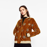 BOMBER JACKET WITH EMBROIDERED STARS