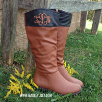 Monogrammed Cognac & Black Two Toned Riding Boots - SIZE 8