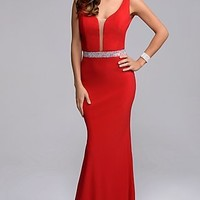 Sleek Illusion V-Neck Formal Prom Gown by Nina Canacci