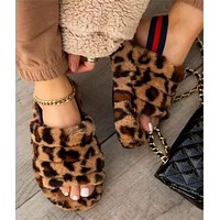 Sandals and slippers, muffin, thick bottom, flat wool boots, women's shoes leopard