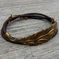 Vintage Leaf Genuine Greek Leather Wrap Bracelet