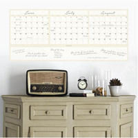 Dry Erase 3-Month Calendar Decal