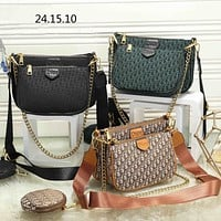 """""""Dior"""" Fashion Letter Embossed Leather Contracted Mental Chain Messenger Bag Women Sport Solid Color Small Square Bag"""