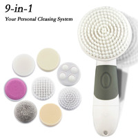 9 in 1 Waterproof Electric Facial Body Cleansing Exfoliator Scrub Brush Deep Clean Multifunctional Spa Skin Care Messager