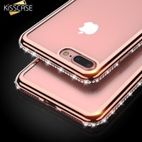 For iPhone 5s 5 SE 6 Case KISSCASE Fashion Plating+Bling Phone Cases For iPhone 6 6s 8 7 Plus Cute Girl Lady Cover Capa New