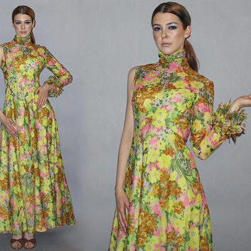 Vintage 60s 70s ONE SLEEVE Maxi Dress / Groovy Floral Print / Avant Garde, Rare, Ooak / High Collar, Ruffle Sleeve / Summer Wedding / S
