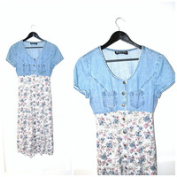 90s FLORAL + chambray midi dress / vtg 1990s GRUNGE button down DENIM and roses baby doll dress