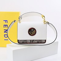 FENDI WOMEN'S LEATHER HANDBAG INCLINED SHOULDER BAG