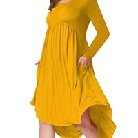 AMZ PLUS Plus Size Scoop Neck Long Sleeve Pleated Tunic Casual Dress for Women